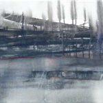 2014 / Encres, huile et collage sur toile taille : 40X150 cm