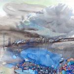 2014 / Encres, huile et collage sur toile taille : 90X90 cm